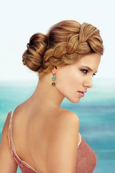 Crown braided hairstyle with chignon
