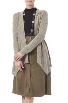 Long sleeve, flyaway cardigan in a dark oatmeal color. The cardigan has an asymmetrical bottom hemline.   Oatmeal Flyaway by Veroinca M. Clothing - Sweaters - Cardigans Iowa