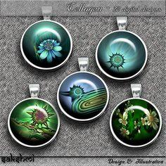 Fraktale Blumen – Digital Design - Set 4 - 20 Buttons zum Ausdrucken. 300 DPI