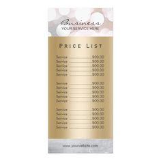 Price List | Modern Silver & Gold Beauty Salon Spa Rack Card Template
