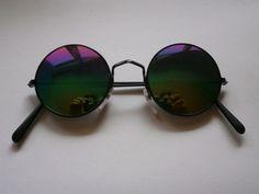 Sonnenbrille im 70s Style Stil Hippie Goa Brille Retro rund 70er Spiegel Rainbow