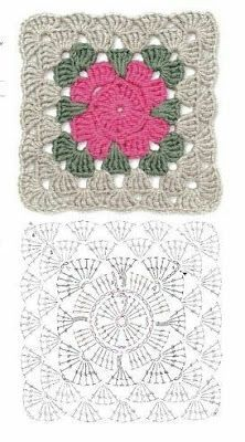 Transcendent Crochet a Solid Granny Square Ideas. Inconceivable Crochet a Solid Granny Square Ideas. Crochet Motif Patterns, Granny Square Crochet Pattern, Crochet Diagram, Crochet Chart, Crochet Squares, Crochet Granny, Knitting Patterns, Granny Squares, Crochet Home