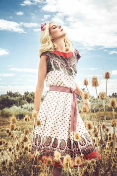 Lena Hoschek Souvenir Coral Belted Dress