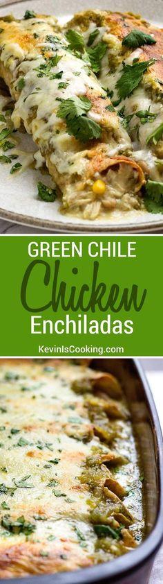 These Green Chile Chicken Enchiladas use shredded rotisserie chicken, white…