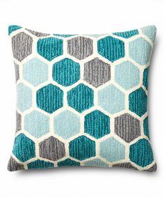 Teal & Multi Hexagon Pillow - Tuvalu Coastal Home Furnishings