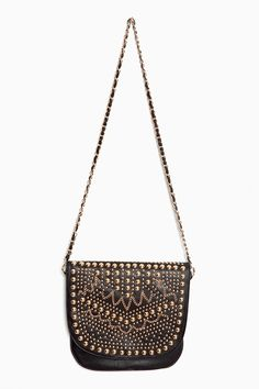 Black and gold detailed bag with metal straps. Perfect with this a/w trend!