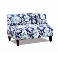 French Country Chic Blue Floral Cotton Oak Settee/Love Seat. 44'' x 31''H. #Unbranded #FrenchCountry