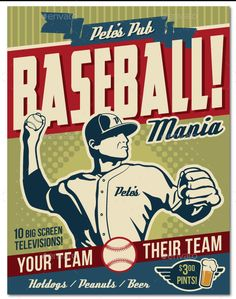 Baseball Poster Flyer or Ad Promote your baseball themed event, tournament, baseball/softball league, or baseball playoffs /World Series party with this vintage look flyer! File comes with all the e
