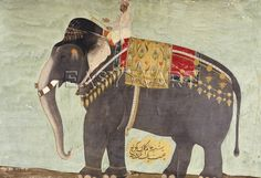 How about a little explore of Indian elephants decorated and carrying an Indian prince. ¤ Portrait Of The Elephant 'Alam-Guman Gajraj'. Mughal, Circa 1650, Christie's.
