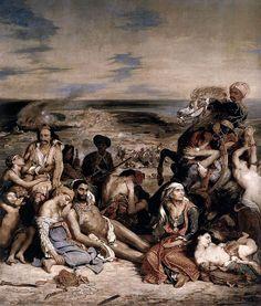 Eugène Delacroix - Le Massacre de Scio - Pintura romántica - Delacroix: La matanza de Quíos, 1822, óleo sobre lienzo, 419 x 354 cm, M. Louvre