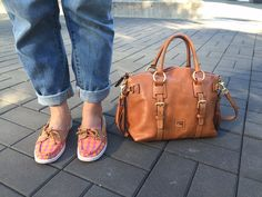 orange and pink boat shoes with brown trim, and matching bag!