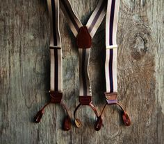 Vintage Tan Striped Suspenders - Button Tab Leather - Brown and Navy