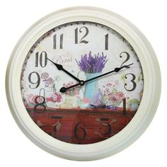 This listing is for one Vintage Style Large Shabby Chic Metal Paris and Lavender Scene Wall Clock. Price £44.99