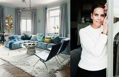 Fabrique-grundarna Zetterströms personligt eleganta hem går i dimgrönt, babyblått och mörkt havsgrönt. Färgsättningen är vågad och ger 1800-talsvåningens pampiga stil en unik touch.