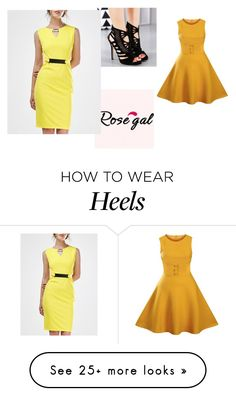 """""""yelow dresses"""" by sanela-avdic-mutapcic on Polyvore featuring vintage, dress and women"""