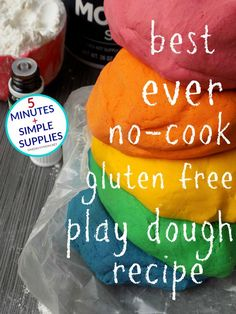 Best Ever Homemade Play Dough - All Natural Gluten-Free Recipe Takes Just 5 Minutes To Make Looking for the best ever homemade play dough recipe? This is it! This homemade play dough is no-cook, all natural and gluten-free (for kiddo's that have gluten allergies and may still be prone to taste-test everything). If you don't want to make it gluten-free, you can easily swap out the gluten-free flour in my recipe with regular all-purpose flour. This play dough recipe only requires a very…