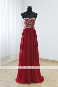 Charming Red A-Line/princess Sweetheart Floor Length chiffon prom dresses with Beaded sequins  -  $145.00 Form https://www.everisa.com/charming-red-a-line-princess-sweetheart-floor-length-chiffon-prom-dresses-with-beaded-sequins