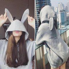 Black/grey bunny ear hoodie coat from Fashion Kawaii [Japan & Korea] Kawaii Fashion, Cute Fashion, Fashion Outfits, Womens Fashion, Fashion Black, Grey Bunny, Vetement Fashion, Kawaii Clothes, Online Clothing Stores