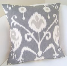Decorative Throw Pillow Cover Gray Ikat Pillow 18 x 18 Inch Cushion Accent Grey