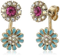 Betsey Johnson Boho Betsey Faceted Stone and Flower Earrings Jacket *** Check out this great product.