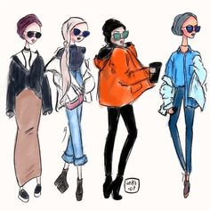 Hijab Drawing : Fashion illustration by Sara Reedy Design.07 on Instagram Modest Fashion, Hijab Fashion, Fashion Art, Fashion Dresses, Drawing Fashion, Hijab Drawing, Drawing Artist, Drawing Tips, Muslim Beauty
