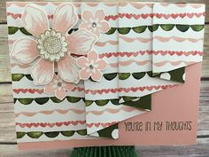 "This Blushing Bride and Mossy Meadow Thinking of You card uses Stampin' Up!'s: Beautiful Bunch stamp set, Fun Flower punch, and more!  It's the Drapery Fold Technique using Birthday Bouquet Designer Paper: cut paper to 4 x 11 1/2; score at 3, 4, 6, 7, 9, 10.  Make a pencil mark at 1 5/8 on the end opposite of the first 3"" score mark and cut with paper trimmer from that pencil mark to the very first 3"" score mark.  Tutorial for 4 classes (including this card) only $10.  See ""Events"" at…"