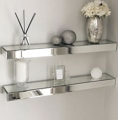 Mirrored Floating Wall Shelf Mirrored Floating Wall Shelf Hina Meah sabbukhan Living room We love our Mirrored Floating Wall Shelves shown here by […] bedroom furniture Interior, Furniture Decor, Living Room Decor, Mirrored Bedroom Furniture, Living Room Mirrors, Floating Shelves Living Room, Living Decor, Mirrored Furniture Decor, Master Bedrooms Decor