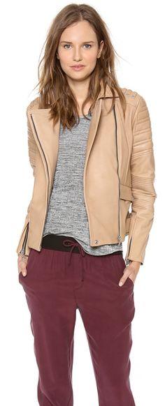 REBECCA MINKOFF Beige Saturn Bonded Leather Jacket - Lyst