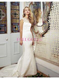 Tank Top Court Train Satin Sheath Column Wedding Dress