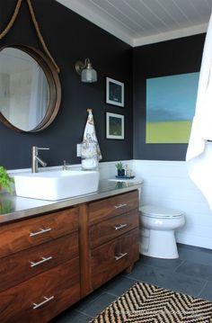 dark upper, white lower, rich wood tones - warm modern style
