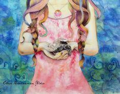'The Protector' - mixed media on Canvas - Ellen Brenneman, Artist #turtle #mixedmedia #mothernature