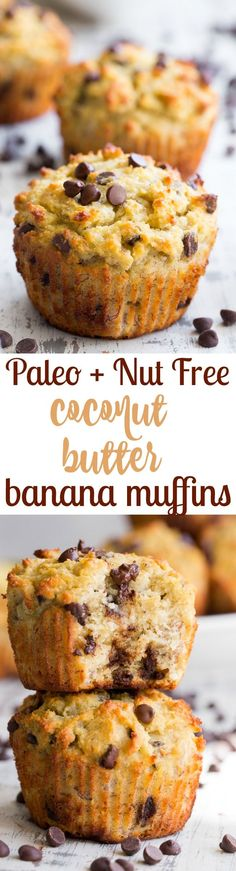 These moist and hearty chocolate chip banana muffins have perfect flavor and texture, PLUS are made nut-free thanks to coconut butter! These kid friendly, easy-to-make paleo muffins will become a go-to recipe in your house since they're perfect for breakfast, snack and dessert!