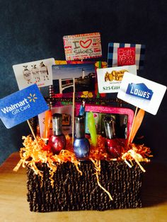 Ask each student to bring in a gc to somewhere the teacher would gift card basket negle Gallery
