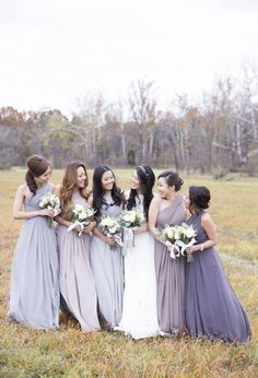 Bridesmaid Dresses - Shades of light gray to lavendar Colors