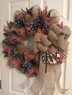 Patriotic wreath, veterans day wreath, americana wreath, fourth of Patriotic Wreath, Patriotic Crafts, July Crafts, Patriotic Party, Wreath Crafts, Diy Wreath, Wreath Ideas, Fabric Wreath, Tulle Wreath