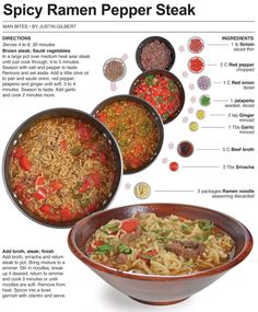 Behind the Bites: Spicy Ramen Pepper Steak Asian Recipes, Beef Recipes, Soup Recipes, Cooking Recipes, Easy Recipes, Pepper Steak, Sauteed Vegetables, Asian Cooking, Gourmet