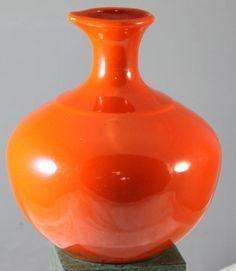 Vintage California Pottery Bauer Burnt Orange Pitcher Jug #Bauer
