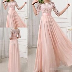 Formal Bridesmaid Dresses Sexy Chiffon Long Maids Of Honor Bridesmaids Dress With Lace Pink Champagne Royal Blue Gowns 2016 For Cheap New Bridesmaid Dresses Cheap Bridesmaid Dresses Long Maid of Honor Dress Online with on Store Bridesmaid Dresses With Sleeves, Bridesmaid Dresses Plus Size, Lace Bridesmaids, Bridesmaid Gowns, Lace Evening Dresses, Lace Dress, Trendy Dresses, Sexy Dresses, Traje A Rigor
