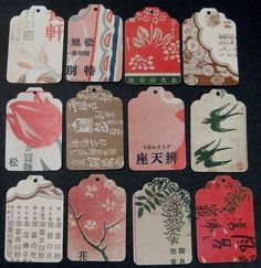 vintage japanese advertising  gift tags  set A  12 by thriftypyg