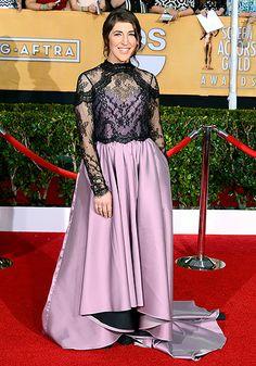 Mayim Bialik at the 2014 SAG Awards...You can see she really loves her dress
