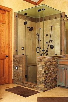 Shower with stone work. Beautiful!