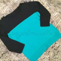 """Black and green color blocked sweater This color blocked black and green sweater has 3/4 length sleeves and buttons on the shoulders. This green is not as bright as the picture, it's a darker green. Length: 23"""", bust: 19"""", sleeve length: 18"""". No tags, please refer to measurements. Perfect condition. Sweaters Crew & Scoop Necks"""