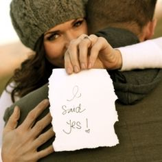 Cute way to announce your engagement. Love it
