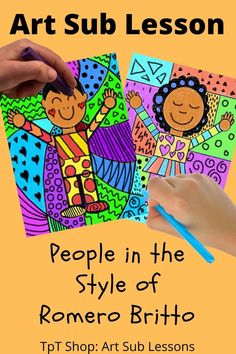 Help kinders and first graders learn how to draw a person as they learn about the work of Romero Britto. I made this as an art sub lesson but you can teach it yourself too! Art Sub Lessons, Art History Lessons, Drawing For Kids, Art For Kids, Kid Art, Elementary Art Lesson Plans, Art Sub Plans, Emergency Sub Plans, 2nd Grade Art
