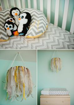 aqua and gold nursery on COUTUREcolorado Baby, featuring penguins, grey and yellow chevron crib sheets, monogrammed boppy cover, and DIY ribbon mobile chandelier.