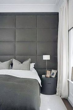 Fabric Headboard Ideas From modern and contemporary to traditional classics, discover the top 60 best headboard ideas. Explore luxury bedroom interior designs for your bed. Bedroom Apartment, Home Bedroom, Modern Bedroom, Bedroom Decor, Master Bedroom, Taupe Bedroom, Bedroom Wall, Modern Headboard, Headboard Ideas
