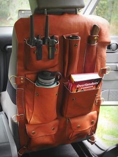 Ketzal Bags manufacture probably the best looking and rugged back of the seat organizer out there. Each seat-back organizer is designed specifically to fit your seat, it is handmade from 100 genuine leather, and features heavy-duty polyester double Truck Accessories, Leather Accessories, Leather Jewelry, Chevrolet Blazer, Car Storage, Leather Projects, Leather Tooling, Survival Gear, Leather Craft