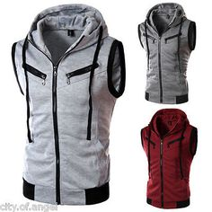 Men Casual Hoodie Jacket Coat Sleeveless Tank Top Vest Sweatshirt Sweater Hooded
