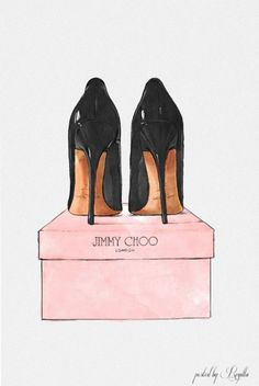 "Jimmy Choo painting ""night out stilettos"" by Oliver Gal #ShoeArt #JimmyChoo"