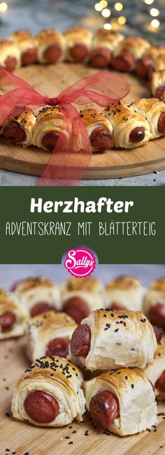 Herzhafter Adventskranz mit Blätterteig Murat's Advent wreath consists of beef sausage and puff pastry. A super easy recipe, if you want to go fast. And also a great last minute idea for Christmas. Vegan Chocolate Brownies, Appetizer Recipes, Dessert Recipes, Party Food Platters, Advent Wreath, Snacks Für Party, Clean Eating Snacks, Thanksgiving Recipes, Finger Foods